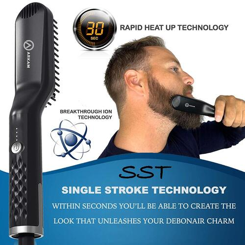 Arkam Men's Beard Straightener Brush included Wooden Pocket Comb and Heat Resistant Travel Bag