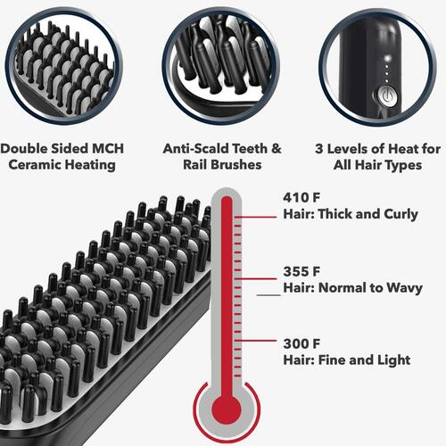 Arkam Men's Beard Straightener Brush with Double-sided MCH Ceramic Heating, Anti-scald Teeth and 360° Swivel Cord