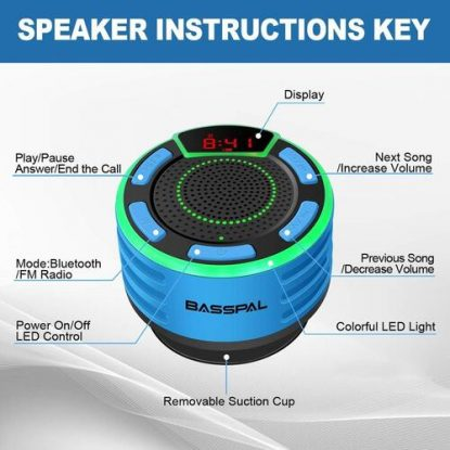 BassPal IPX7 Waterproof Portable Bluetooth 5.0 Shower Speaker