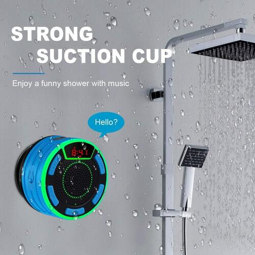 BassPal IPX7 Waterproof Portable Bluetooth 5.0 Shower Speaker with 7 Multi-coloured LED Mood Lights