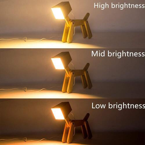 HROOME Cute Dog Adjustable Wooden Dimmable Bedside Desk Table Lamp with Touch Sensor