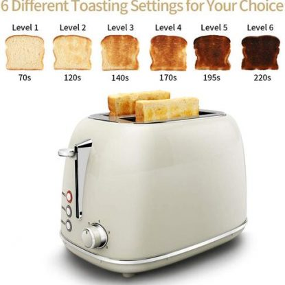 Keenstone 2 slice Stainless Steel Toaster with 6 Different Toasting Setings and Removable Crumb Tray