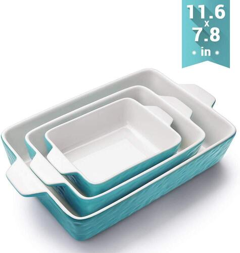 Krokori Rectangular 3 pieces Ceramic Bakeware Set