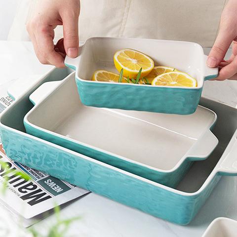 Krokori Rectangular 3 pieces Ceramic Baking Dishes