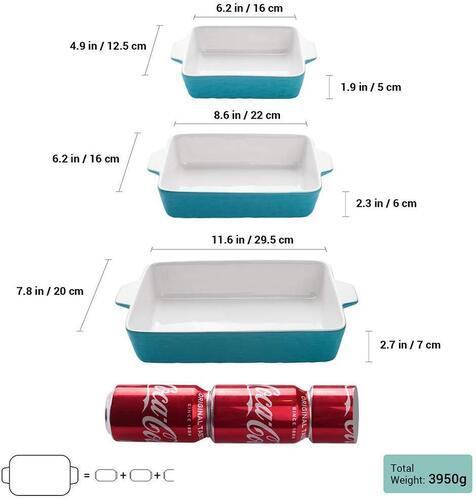 Krokori Rectangular Ceramic Bakeware Set of 3 Different Size Baking Pans