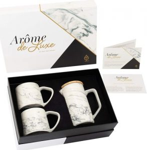 Louie May Design Arôme de Luxe 28 oz Ceramic Marble Coffee Press with 2 Ceramic Marble Ergonomic Mugs