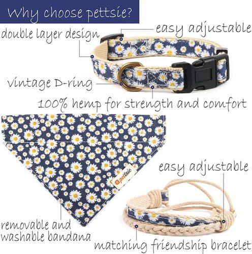 Pettsie 100% Hemp and Cotton Dog Collar with Friendship Bracelet and Bandana in Eco-friendly Gift Box