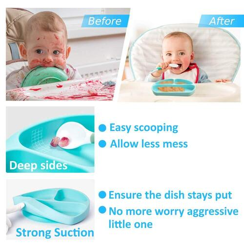 Randconcept BPA free Food Grade First Stage Silicone Baby Feeding Set with Plate, Fork and Spoon