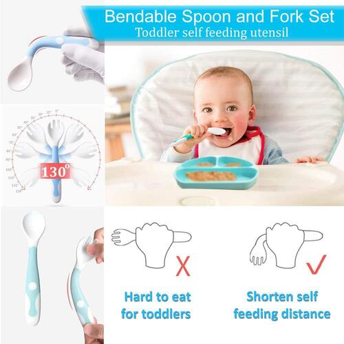 Randconcept Toddler Self Feeding Utensil Silicone Baby Plates with Suction
