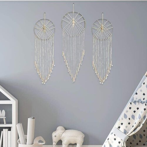 23 Bees Bohemian Design Macrame Dream Catcher Set with Natural Wood Beads