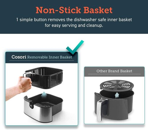 COSORI Stainless Steel 3.7 Quart Air Fryer with Non-Stick Basket