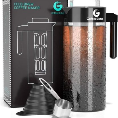 Coffee Gator 47 oz Cold Brew BPA free Coffee Maker with Leakproof Lid