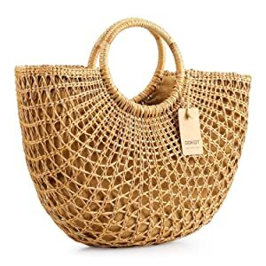 DOKOT Women Hand-Woven Straw Multifunction Handbag with a unique round handles and a bundle pocket