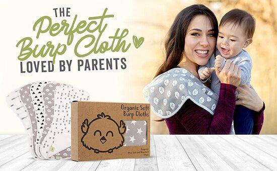 KeaBabies 5-Pack Burp Baby 3 Layers Cloths Set