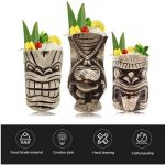 LINALL 3 piece Ceramic Cocktails Tiki Mug Set