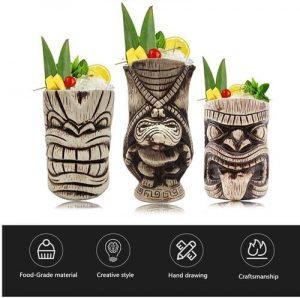 LINALL 3 piece Ceramic Cocktails Tiki Mug Set