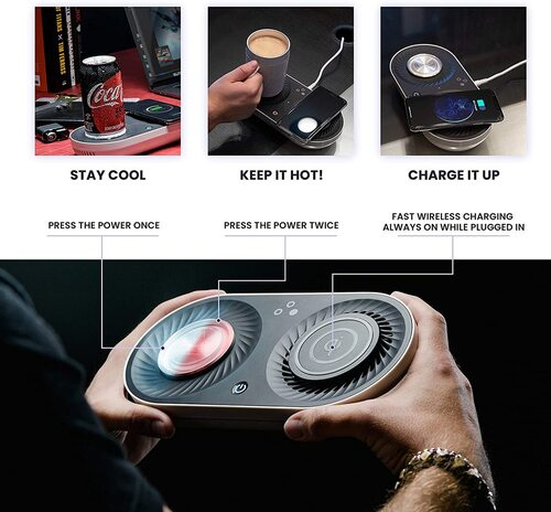 Nomodo Trio wireless charger and stay cool and keep it hot drink plate