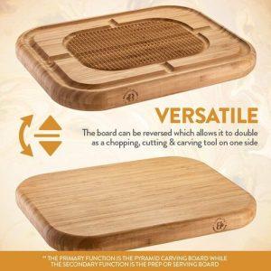 Bambüsi Versatile Pyramid Ridge Design Bamboo Cutting Board