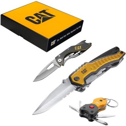 CAT 3 pcs Pocket Multi-tool Knife for Men in Gift Set