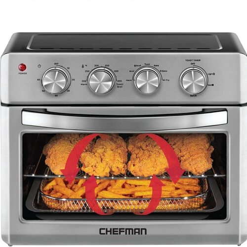 Chefman Stainless Steel Air Fryer Toaster Oven included Cookbook