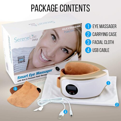 SereneLife SLEYMSG40 Portable Smart Electric Eye Massager with Relaxing Sounds