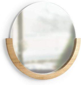 Umbra Mira Decorative Circular Mirror with wood frame and semi circle shape