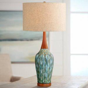 360 Lighting Rocco Mid-Century Modern Blue Ceramic Table Lamp