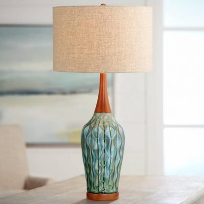 360 Lighting Rocco Mid-Century Modern Blue Ceramic Table Lamp