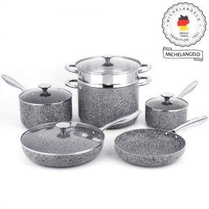 MICHELANGELO Aluminum Cookware Set with non-stick granite interior