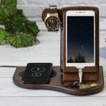 wood phone docking station