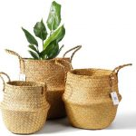POTEY 3 piece Hand Woven Plant Basket with Handles