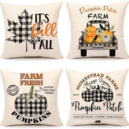 4 pcs Pillow Covers Theme for Fall & Halloween & Thankgiving by 4TH Emotion