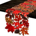 Simhomsen Embroidered Colorful Leaves Table Runner