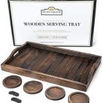 TIP-TOP TABLETOP Rustic Wooden Serving Tray with Handles and 4 Coasters