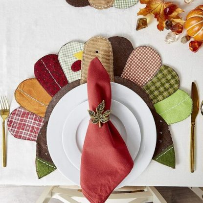 DII 4 pcs Embroidered Turkey Polyester Placemat