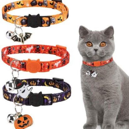 EXPAWLORER 3 pcs Halloween Pattern Cat Collar