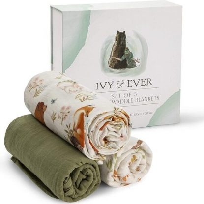 Ivy & Ever 3 pcs 100% Organic Muslin Baby Swaddle Blankets