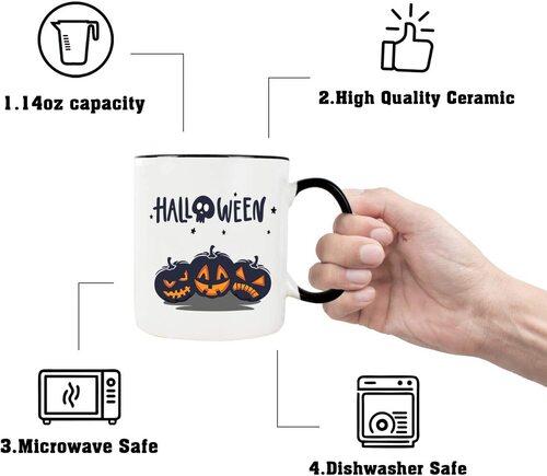 WHATCHA Ceramic Halloween Mug Microwave and Diswasher Safe