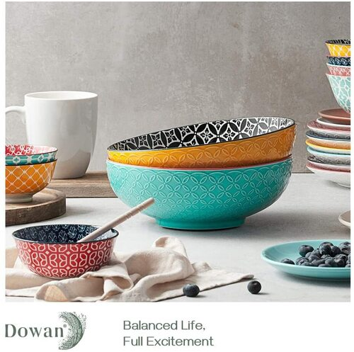 Dowan 2.8 Quarts 2 pcs Microwave & Dishwasher safe Serving Bowls