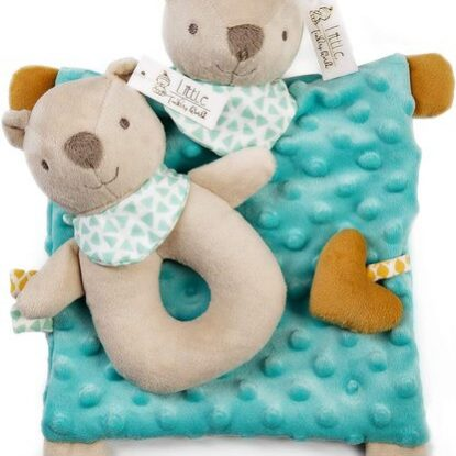 Little Tinkers World Baby Security Blanket & Cute Stuffed Bear Rattle Newborn Gift