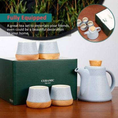 ROIMTEA Ceramic Teapot Set include 1 Teapot and 4 Matching Cups with Coasters in Gift Box