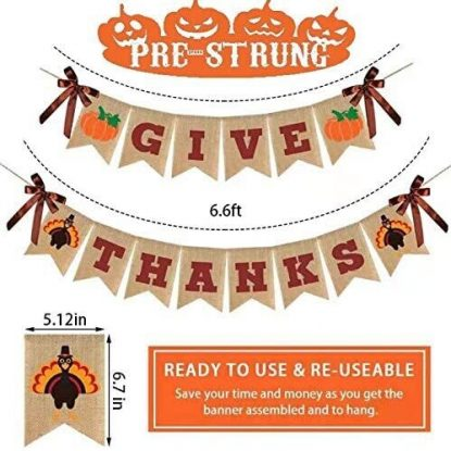 Raleyooze Premium Burlap ''Give Thanks'' Turkey and Pumpkin Printed Thanksgiving Banner