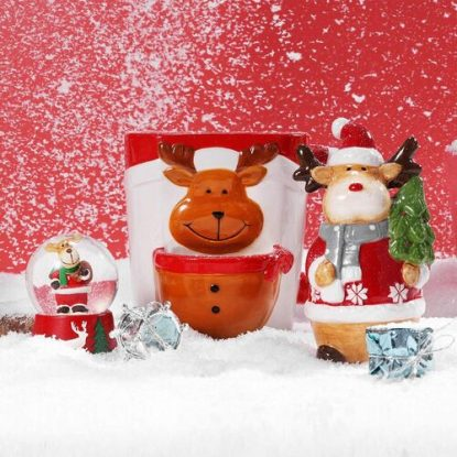 BFFLOVE 5pcs Christmas Gift Set includes Cute Reindeer Cup, Crystal Ball, Christmas Stocking, Socks and Reindeer Ornament