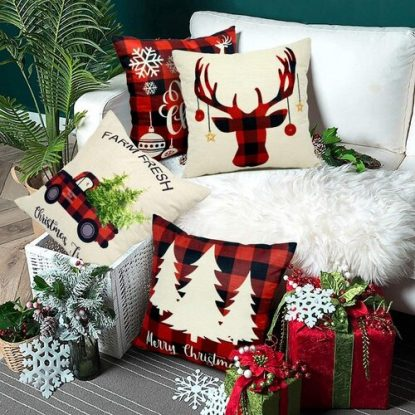 EZIGO 4pcs Decorative Christmas Themed Cotton Throw Pillow Covers 18x18 Inch for Christmas Decorations