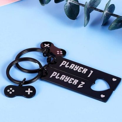 FrereFeter 2pcs Joystick Design Keychain Valentines Day Gift for Console Gamers