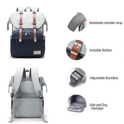 Pofunuo Diaper bag backpack with Stroller Straps and Luggage Strap