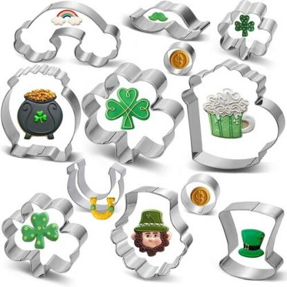 Pekaqose 12pcs Stainless Steel St. Patrick's Day Themed Cookie Cutters
